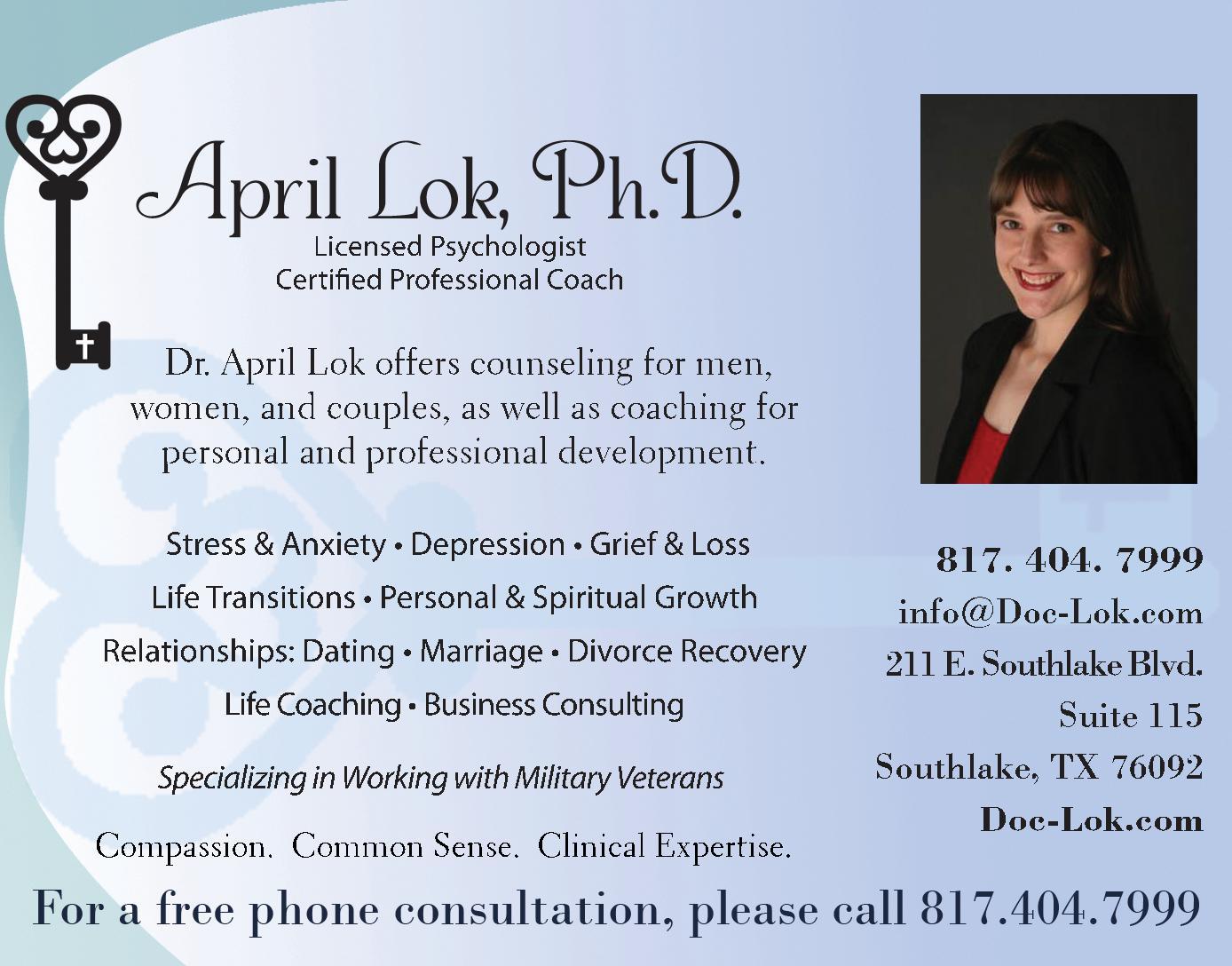 April Lok, Ph.D., Licensed Psychologist