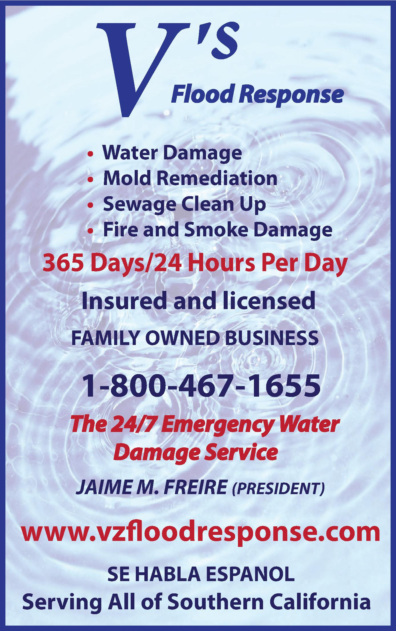 V's 24/7 Emergency Water Damage Service