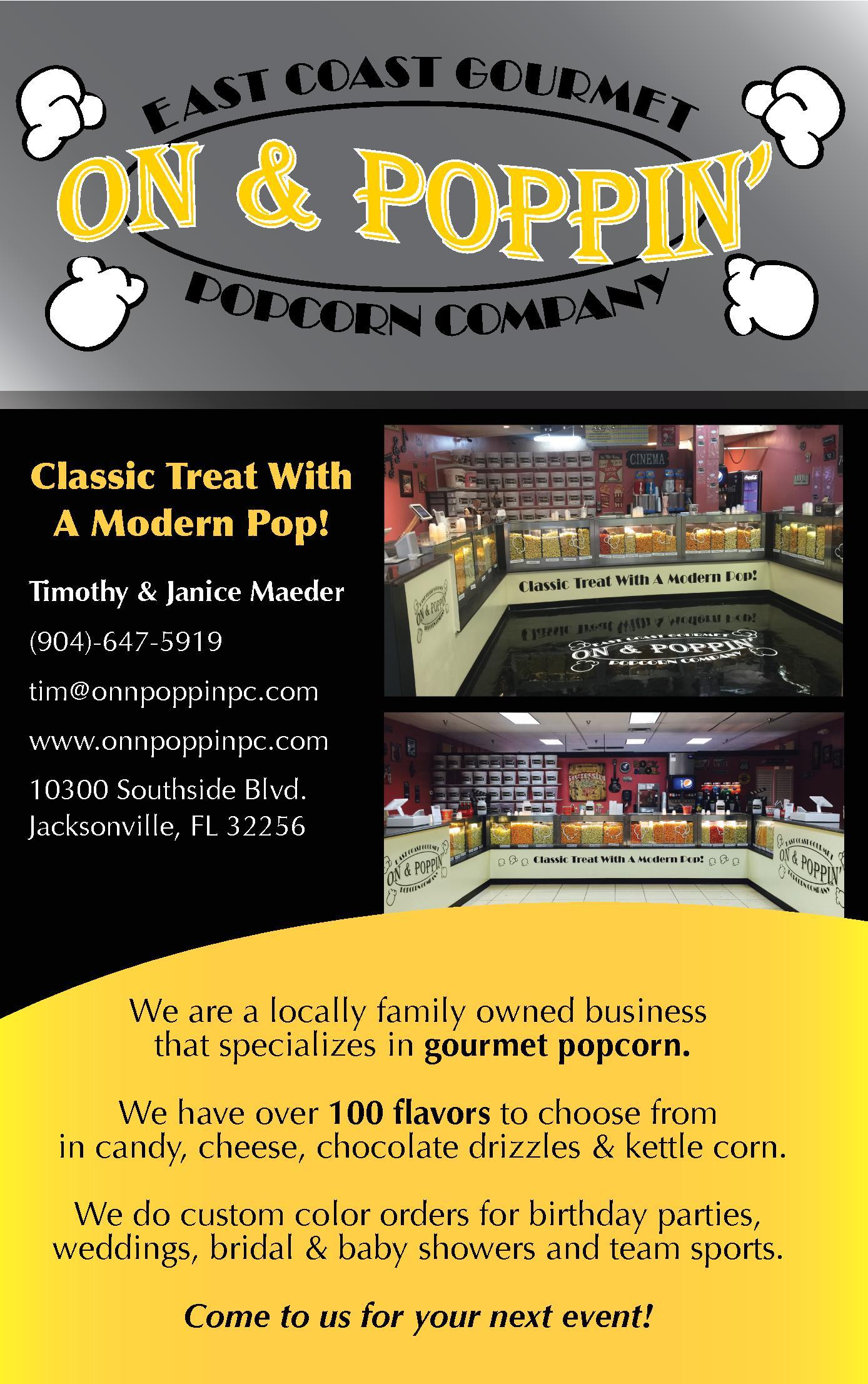 On & Poppin East Coast Gourmet Popcorn Company