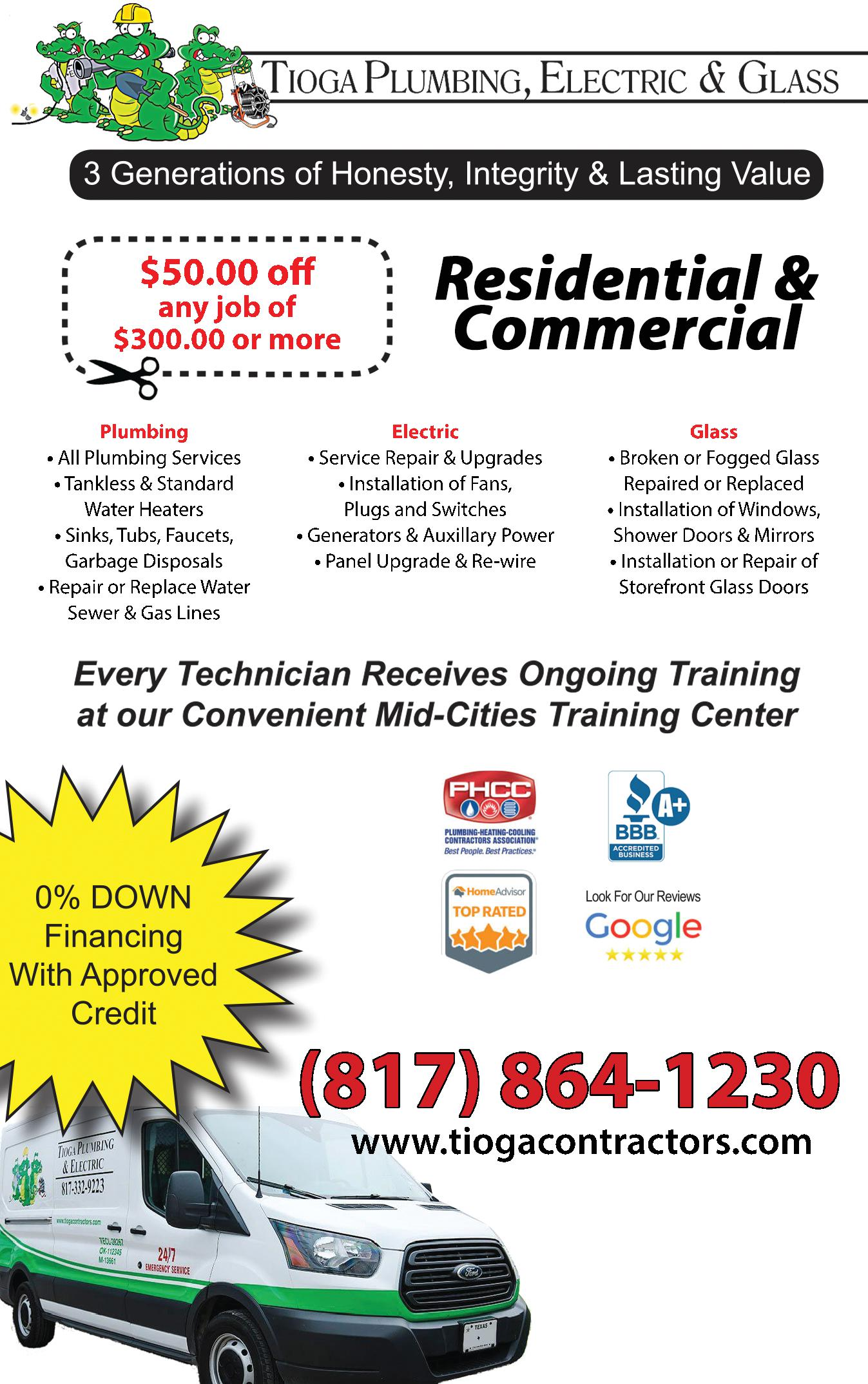 Tioga Plumbing, Electric & Glass