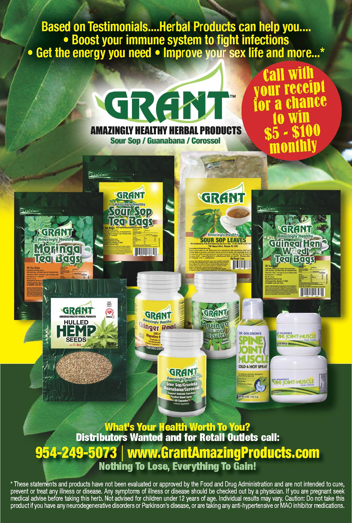 Grant Amazingly Healthy Herbal Products