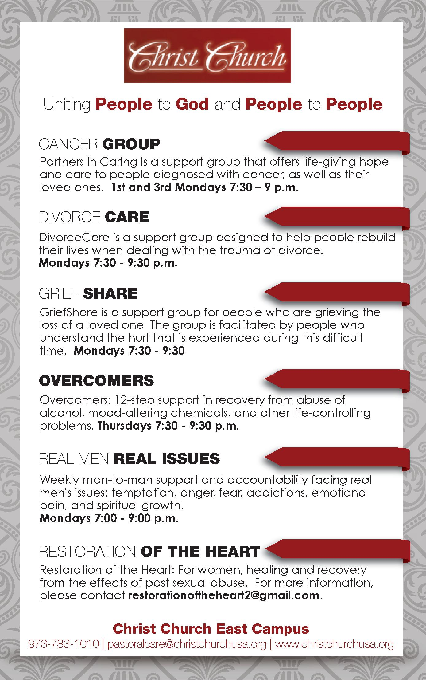 Christ Church Ministry Ad - Support Groups