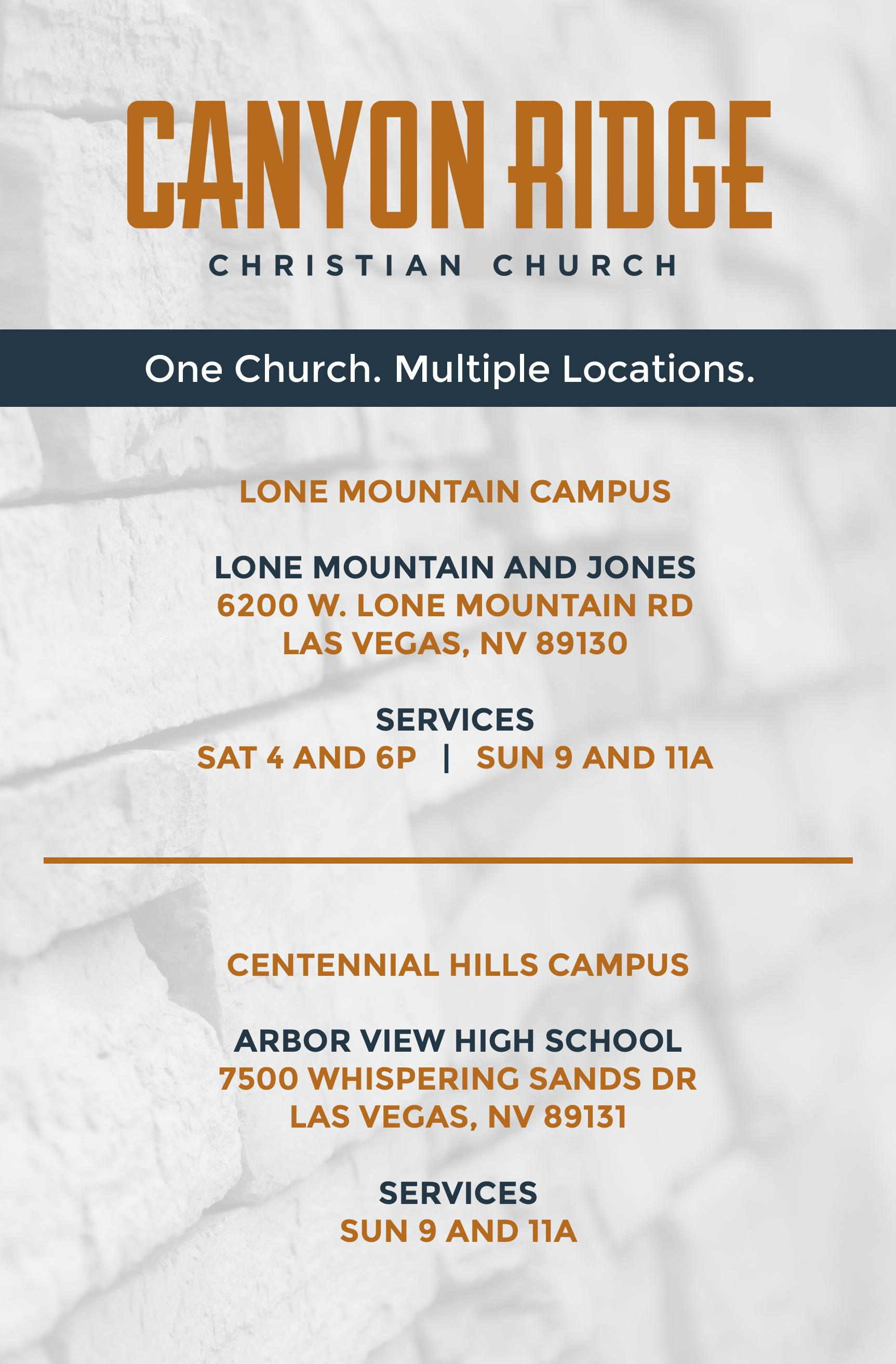 One Church - Multiple Locations